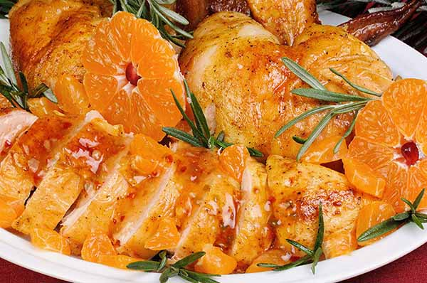 Как приготовить куриное филе с грибами и мандаринами